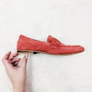 URBAN OUTFITTERS red suede leather penny loafers